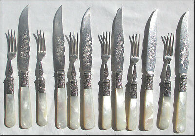 Genuine Victorian Mother of Pearl Handled Fruit Set for Six People 12 piece
