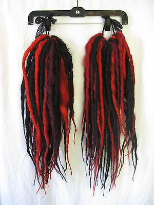 "*Black/red/burgundy Zombie Dreadfall Ponies Dreads 25"" Long Cyber Goth"
