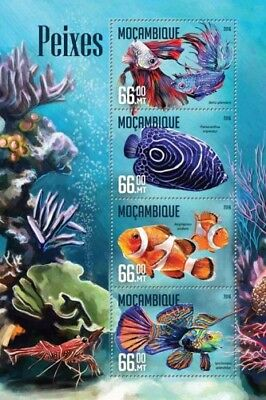 Mozambique 2016 Sheet Mnh Fishes Poissons Peixes Peces Marine Life 3
