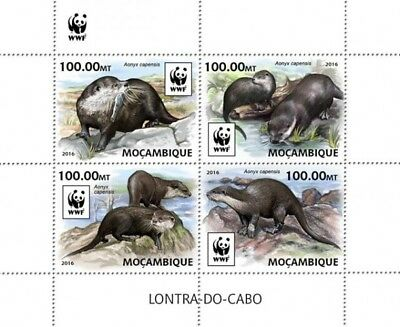 Mozambique 2016 Sheet Mnh Wwf Wildlife Otters African Clawless Otter Lontra 4