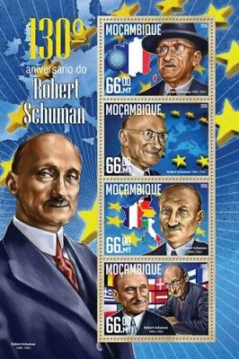 Mozambique 2016 Sheet Mnh Robert Schuman Politicians 3