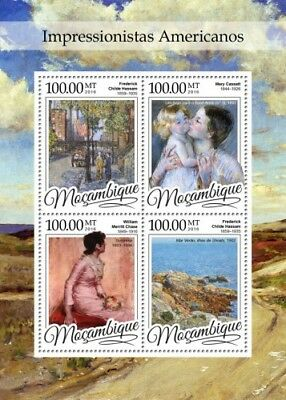 Mozambique 2016 Sheet Mnh American Impressionists Art Paintings Arte Peintures 4