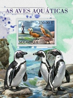 Mozambique 2016 Sheet Mnh Water Birds Aves Penguins Oiseaux Lighthouses 6A