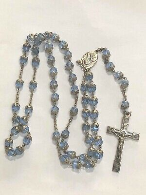 Beautiful Vintage Retro Blue Glass Crystal Religious Rosary Beads Cross