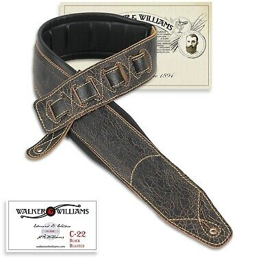 Walker & Williams C-22 Distressed Black Leather Double Padded Guitar Strap