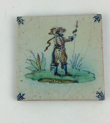 Antique 18th c Dutch delft polychrome tile of a soldier with Halberd tin glazed
