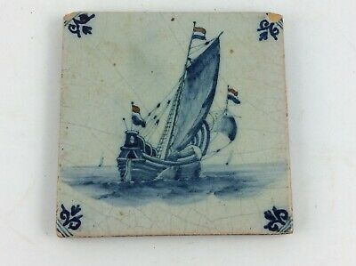Antique 18th c Dutch delft blue white tile of a 2 mast Clipper ship tin glazed