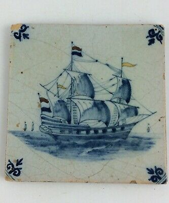 Antique 18th c Dutch delft polychrome tile of a 2 mast Clipper ship tin glazed