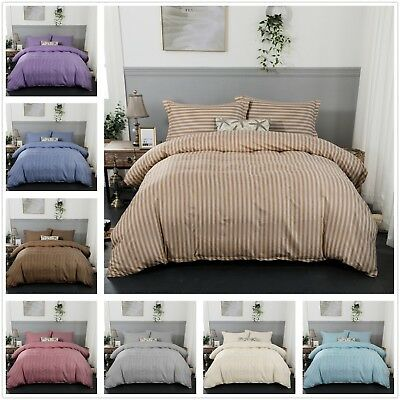Striped Luxury Duvet Quilt Cover Bedding Set Pillow Cases Single Double King New