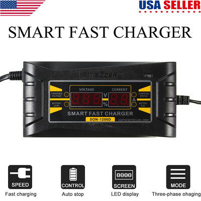 JN/_ 12V 6A Automatic LCD Car Motorcycle Smart Fast Trickle Battery Charger Sur