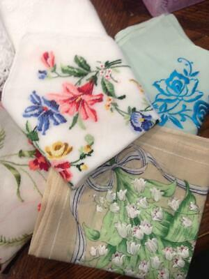 Lot of 8 Vintage hand embroidered handkerchiefs.Petit Point,white work.silk emb