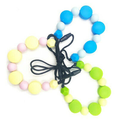 Infant Baby Teething Necklace Food Grade Safe Silicone Teether Beads Nursing BS