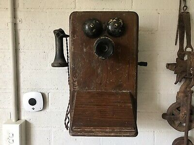 Antique Collectable Wooden Wall Phone Telephone 1918 British Ericsson