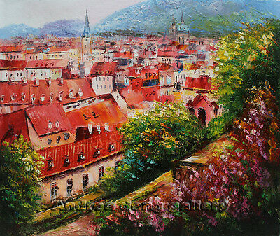Original Prague Oil painting Wall art Deco On Canvas knife Hand Painted Prg119