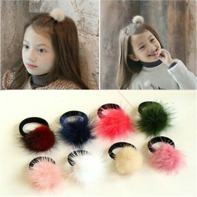 Women Girls 6cm Soft Furry Hair Ties Ball Rope Pom Poms Hair Band Ring