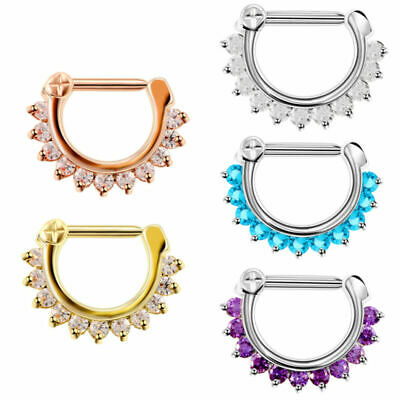 316L Nose Septum Clicker Hinged Nose Ring Hoop Surgical Steel Piercings Jewelry