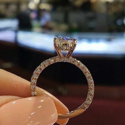 Sparkling Wedding Band Gold Filled Cubic Zirconia Engagement Rings For Women