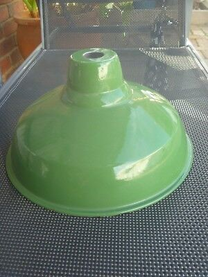 Genuine Industrial Green Enamel Light Shade Hanging Ceiling Lamp Retro Funky....