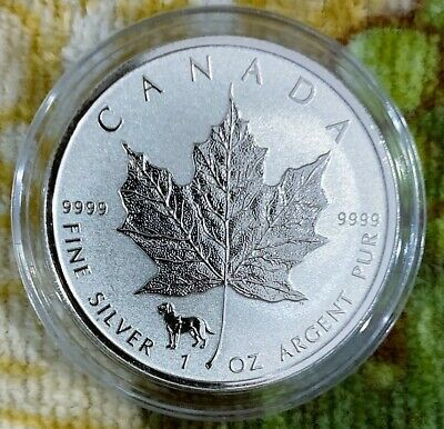 2018 1 Oz Silver Canadian Dog Privy Reverse proof Maple Leaf coin -- w/ Capsule