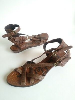 b24bb808028 SAM EDELMAN DELIA Woven Gladiator Flats Sandals Brown Leather Womens Size  6.5 M