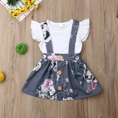 US Toddler Kids Baby Girl Tops T Shirt Overall Skirt Suspender Dress Outfit Set