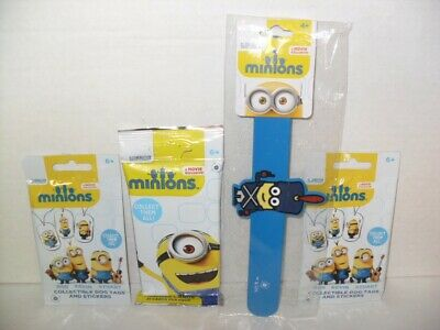 MINIONS MOVIE LOT Of (1) Slap Band (2) Dog Tags (1) Jumbo Trading Cards  Packs #3