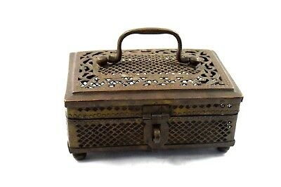 Indian Vintage Beautifully Rare Hand Crafted brass jeweler trinket Box.G7-837 AU
