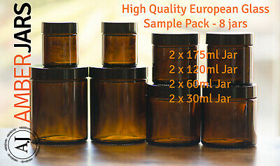 Amber Jars Sample Pack - Quality European Food Grade Glass - cream candle spice