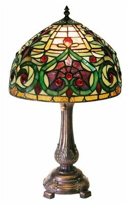 Table Lamp 18 in. Colorful Cut Stained Glass Elegant Antique Bronze Finish