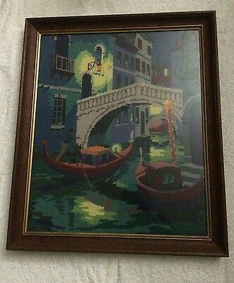 Vintage Completed 1970's Gondola Venice Framed Under Glass