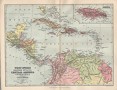 1897 Victorian Map ~ West Indies British Guiana ~ Central America ~ Jamaica