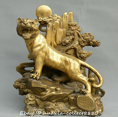 Chinese fengshui old bronze upMountain tiger tiger roars Mountains rivers statue