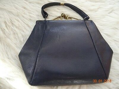 Original vintage post-war navy leather evening handbag with purse d5f92f7c355