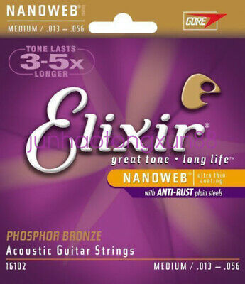 1 set Elixir Nanoweb Phosphor Bronze Medium Acoustic Guitar Strings 16102Elixir