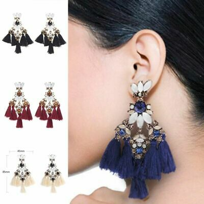 Women Bohemian Long Tassel Fringe Boho Dangle Drop Statement Fashion Earrings