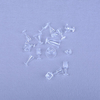 17Pcs Dollhouse Miniature Ice Cream Cups Toy Kitchen Dining-Room Clear KW
