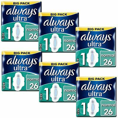 Always Ultra Normal Sanitary Towels Pads Size 1 Wings Women Absorbent - 156 Pack