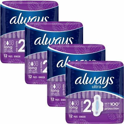 Always Ultra Long Sanitary Towels Pads Size 2 Womens Super Absorbent Pack of 48