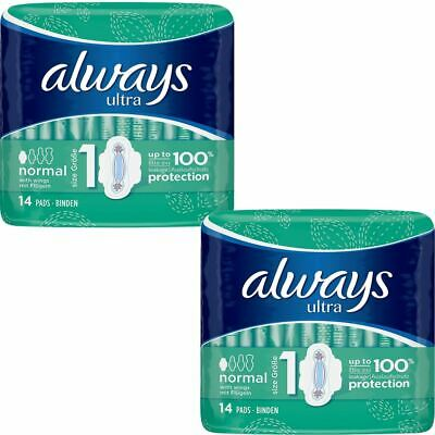 Always Ultra Normal Sanitary Towels Pads With Wings Size 1 Absorbent, Pack of 28