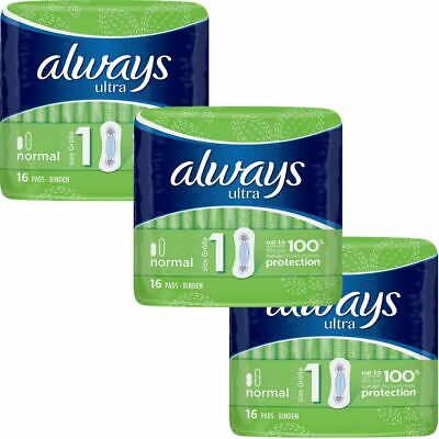 Always Ultra Normal Sanitary Towels Pads Size 1 Women Super Absorbent Pack of 48