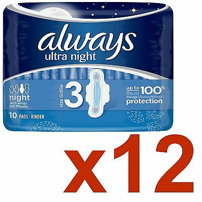 Always Ultra Night Sanitary Towels Pads Wings Womens Super Absorbent Pack of 120