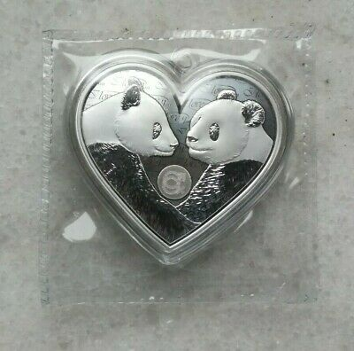 China 2019 Valentine's Day Heart Love Panda 25g Silver Medal