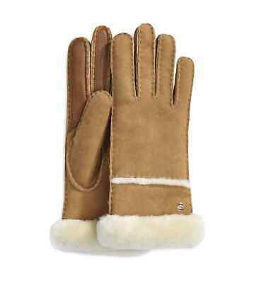NWT New Women's UGG Australia Seamed Tech Leather Gloves Chestnut Brown Large