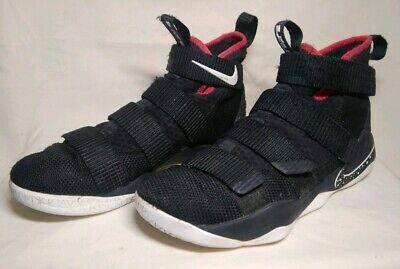 de80606e3a7 Nike LeBron Soldier XI 11 Bred Black Red 897644 002 Mens Size 8 Basketball  Shoes
