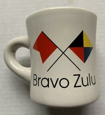 U.s. Navy Bravo Zulu Heavy Diner Style Semaphore Flags Coffee Mug, New Nwt