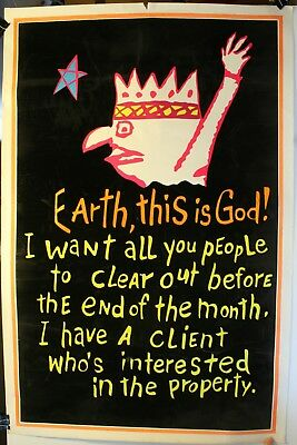"1970's Landlord Blacklight Earth, This Is God! 23 x 35"" Poster Flocked"