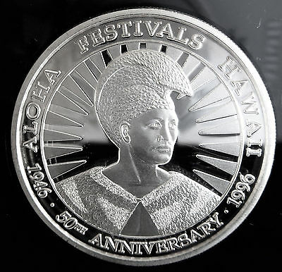 King Kamehameha .999 Fine Silver Proof 1996 50Th Anniversary Coa #435 1 Troy Oz