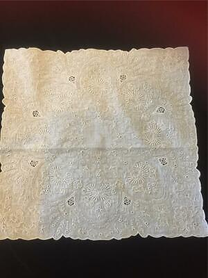 Vintage Appenzell style elaborate embroidered whitework bridal handkerchief