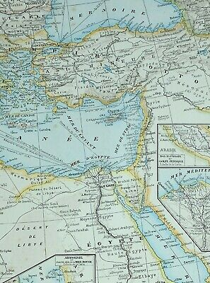 1905 Map Ottoman Empire Greece Bulgaria Egypt Cyprus Nile Delta Alexandria