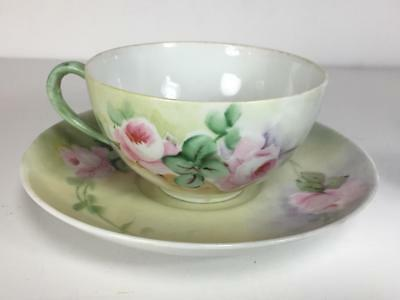 """Beautiful Antique Vintage Pink Roses Cup and Saucer // Stamped """"Germany"""""""